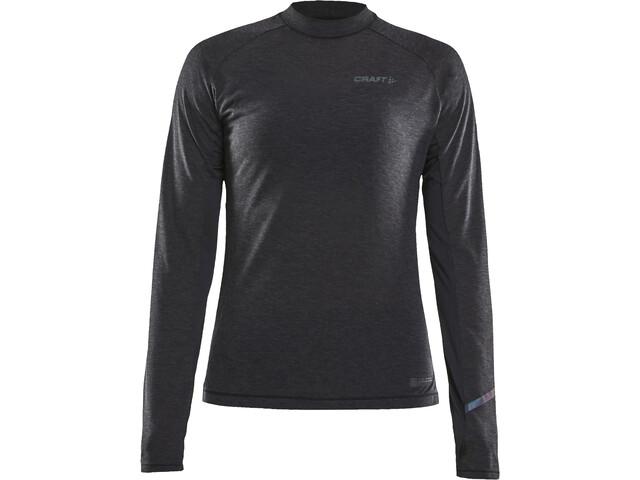 Craft SubZ Longsleeve Wollen T-shirt Dames, black melange/monument